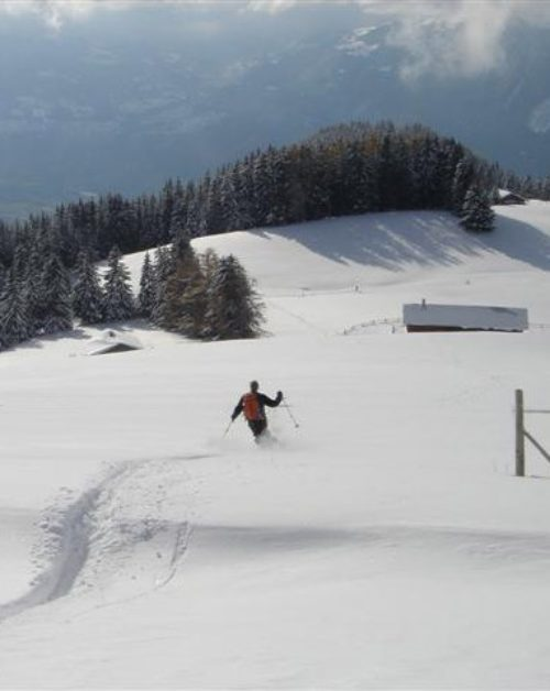 42c Steve-and-Francoise-skiing-down-from-Solacyre-Leysin-2